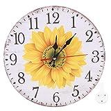 Oumefar Bar Reloj de Pared Patrón de Girasol Lectura Clara 30cm Práctico con Gancho para Colgar para el hogar Oficina Cafetería Restaurante