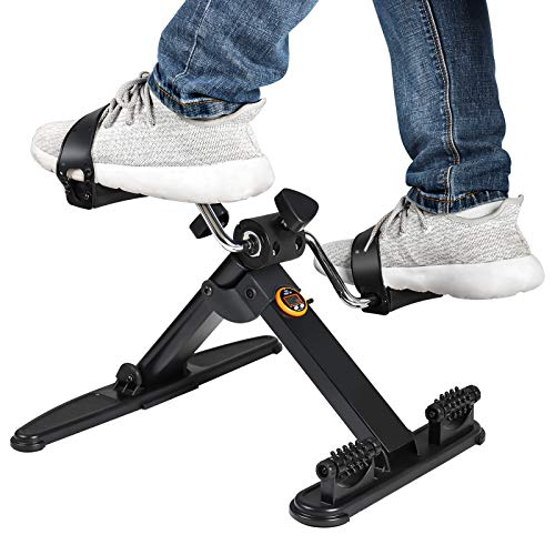 Folding Pedal Exerciser Under Desk Exercise Bike for Arms Legs with 2 Massage Rollers Portable Exercise Peddler with Electronic Monitor