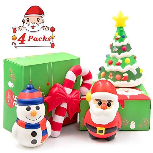 heytech Santa Jumbo Squishies Toys Slow Rising Christmas Santa Jumbo SQUISHIES Pack: Santa, Snowman, Christmas Tree, Crutch, Gift Box! 4 Pack!