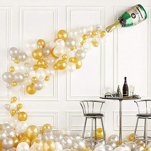 Micacorn Geburtstagsdeko, Champagner Flasche Deko 42 Stück Champagner Flaschen Ballon Gold Weiß Luftballons Konfetti Luftballons Hochzeit Geburtstag Abschluss Jahrestag Bachelorette Party Dekorationen