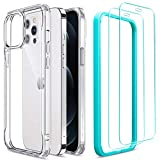 ESR Sidekick Series Compatible with iPhone 12 Pro Max Case with Screen Protectors, [2 Glass Screen Protectors] [Ergonomic Protective Case] [Shock-Absorbing Corners], 6.7-Inch, Clear