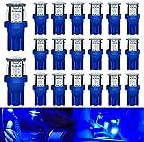 DEFVNSY Lot de 20 - Brillant Bleu T10 Ampoules LED de Rechange pour intérieur de Voiture 194 168 2825 W5W 5e génération 5050 Chipsets 5SMD Source d'éclairage pour Plaque d'immatriculation 24V