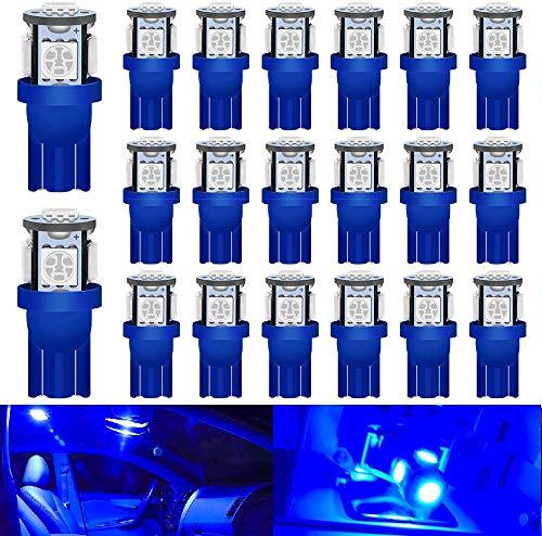DEFVNSY - Paquete de 20 - Azul Brillante 194 T10 168 2825 501 W5W Bombilla de luz LED de Repuesto para el Interior del Coche 5050 5SMD para Luces de matrícula de 24 V DC Luces de Mapa Luces de Domo
