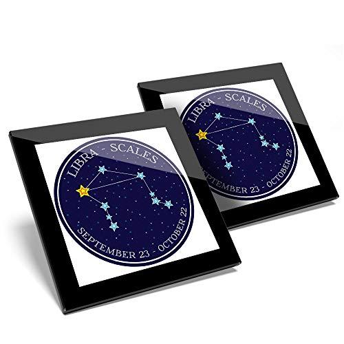 Impresionante juego de 2 posavasos de cristal, diseño de constelación de Libra con estrellas y horóscopo, calidad brillante, protección para cualquier tipo de mesa #7478
