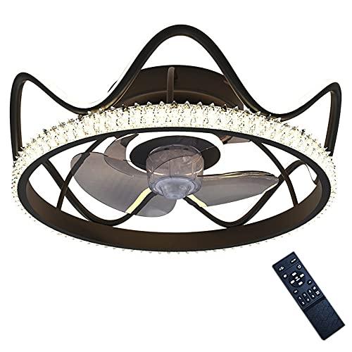 Lámpara moderna del ventilador de cristal de acrílico de oro / negro, motor de cobre Ajustable de 3 velocidades 3 de 3 colores 60W * 2 lámpara de ventilador de techo invisible con control remoto, lámp