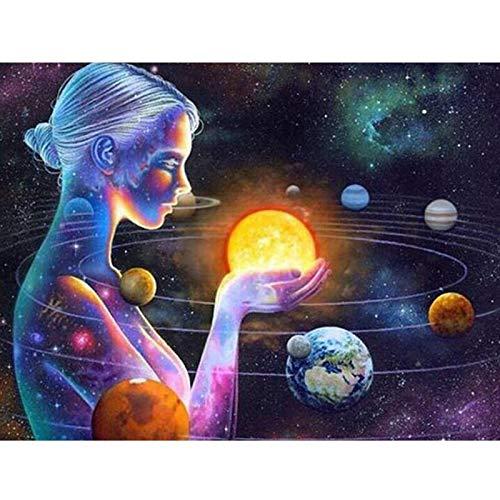 Yunzezka Pintura por Números para Adultos Planeta Chica Universo Espacio Exterior Niños Pintura por Números con Pinceles Y Pinturas Decoraciones,DIY Conjunto De Pinturas(Sin Marco) 40x50cm