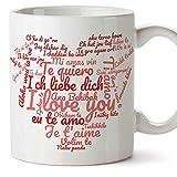 Tazas desayuno originales para enamorados, regalos de pareja, novios, San Valentín - Te quiero/I love You/múltiples idiomas - Tazas de cerámica co