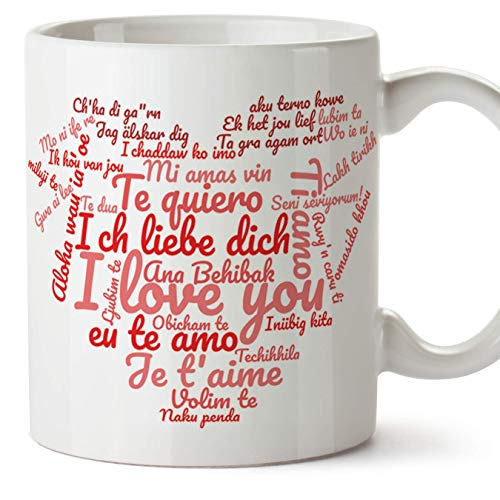 MUGFFINS Tazas para enamorados, regalos de pareja, novios, San Valentín - Te quiero/I love You/múltiples idiomas