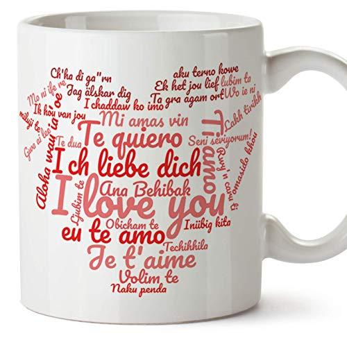 Tazas desayuno originales para enamorados, regalos de pareja, novios, San Valentín - Te quiero/I love You/múltiples idiomas - Tazas de cerámica con frases