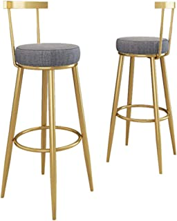 GYPPG Bar Stools Set of 2 PCS Soft Velvet Seat Bar Chairs Breakfast Kitchen Counter Chairs with Metal Legs Barstools Grey ...