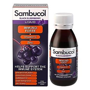 Sambucol Natural Black Elderberry Immuno Forte   Vitamin C   Zinc   Immune Support Supplement   120ml