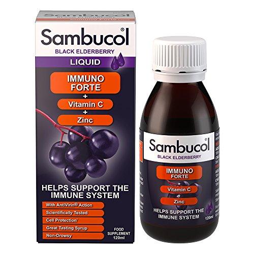 Sambucol Schwarze Holunderbeere Immuno Forte | Vitamin C | Zink | Unterstützung des Immunsystems | 120ml