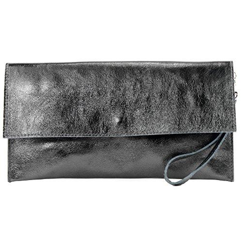 modamoda de - pequeño de cuero embrague ital metálico M106-151, Color:M151 antracita metalizado