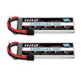 HRB 2S 7.4V 2200mAh LiPo Battery 50C 100C TR Plug RC Batteries Compatible with Traxxas 1:16 Slash, 1/16 E-Revo, 1/16 Summit, Rally Vehicles