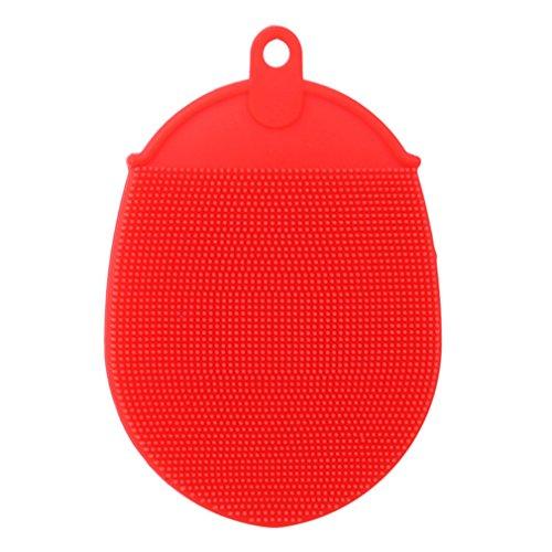 Hengsong Spazzole da Bagno di Silicone Corpo Scrubber Bath Guanto Esfoliante anticellulite Doccia Spazzola, Silicone, Rosso, 13 * 10 * 2.5 cm