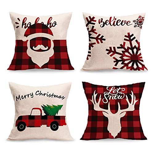 Ownjoye Christmas Pillow Covers 18x18 Inch Setof4 Square Xmas Decorative Pillows for Sofa Bedroom Car Couch Christmas Decorative Throw Pillow Covers
