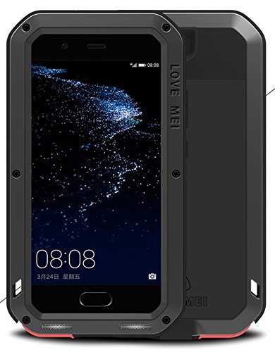 LOVE MEI Case for Huawei P10 Plus (5.5 Inch), Waterproof Shockproof Dustproof Power Full Aluminum Metal with Tempered Glass Cover [Two de Years Warranty]