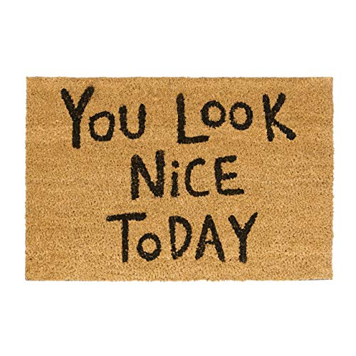 Relaxdays Spruch You Look Nice Today 40 x 60 Kokosmatte mit Rutschfester PVC Unterlage Fußabtreter aus Kokosfaser als Schmutzfangmatte und Eingangsmatte Kokos Gummi Türvorleger, Natur