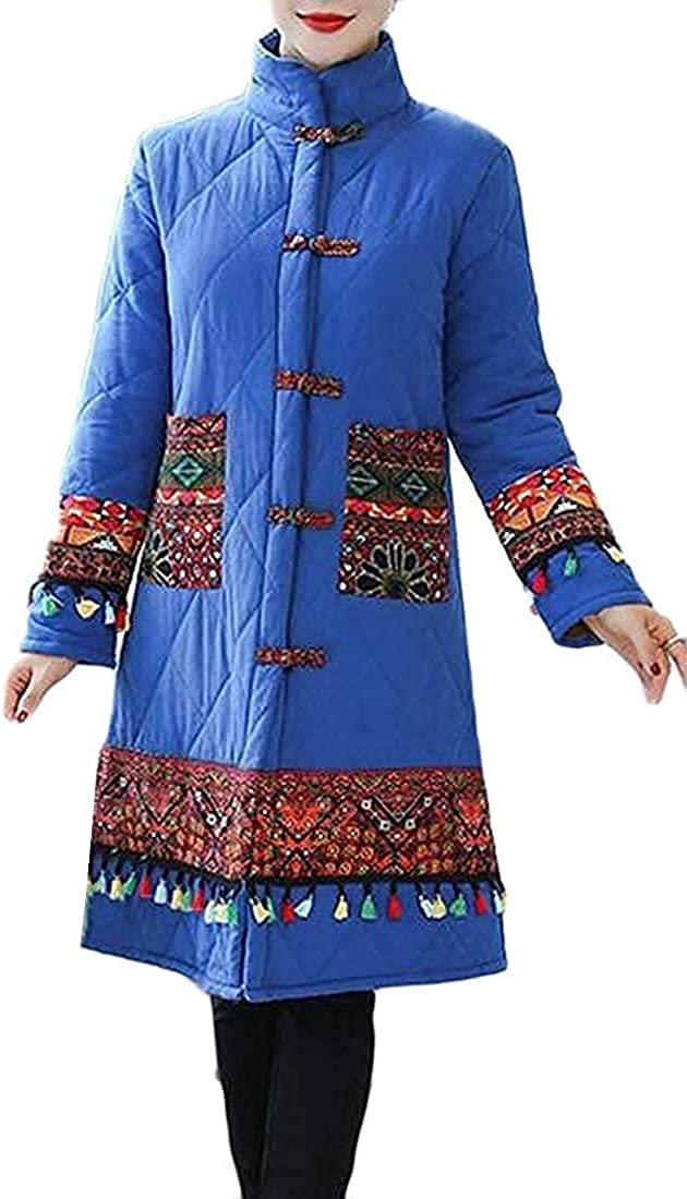 Women Mid Length Winter Faux Fur Lined Ethnic Print Thicken Quilted Jacket Coat Outerwear