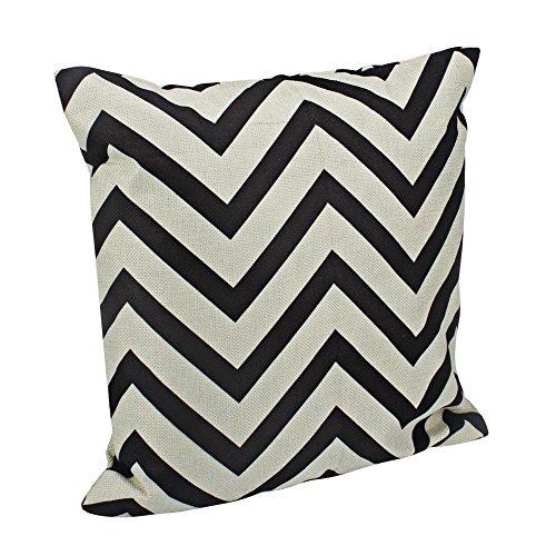 Aikesi Taie d'oreiller Mode simple lignée avec lame dentelée Forme Coton Canapé Housse de coussin Taie d'oreiller 45*45 cm 1 pcs noir