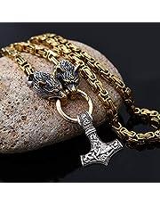 AQzxdc Collar Vikingo para Hombre, Cabeza de Lobo Pesado de Acero Inoxidable Nórdico Vintage con Colgante de Martillo de Thor Mjolnir Joyería de Amuleto