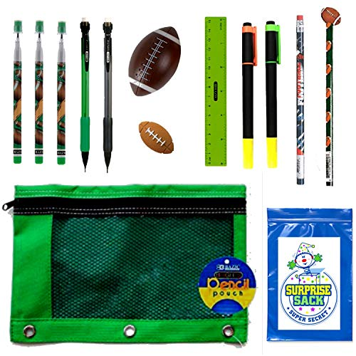 Kids Sports Themed Stationary Accessories-Sports Pencils, Erasers & More - Unique Back to School Supplies, Stocking Stuffers, Easter Basket Fillers (Green Pouch-Football)