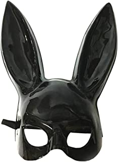 LUOEM Adult Bunny Mask Women's Masquerade Rabbit Mask Bunny Rabbit Mask for Birthday Party Easter Halloween Bar Costume Cosplay Accessory (Bright Black)