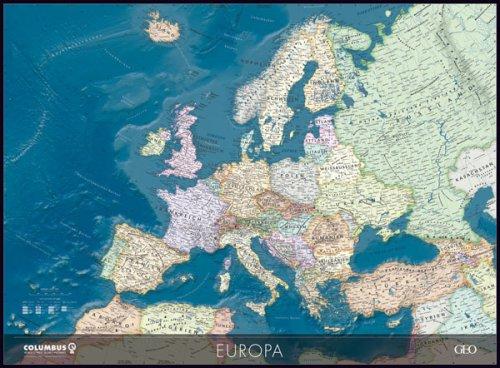 Geo Columbus Europa, mapa político marina relieve