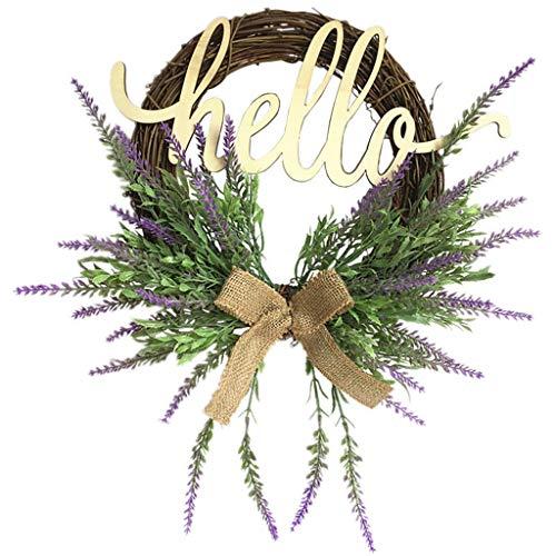 Cgration Künstliche Blumen Lavendel Willkommens-Kranz Frühlingskranz Outdoor für Haustür Wand Fenster Party Hochzeit Dekor