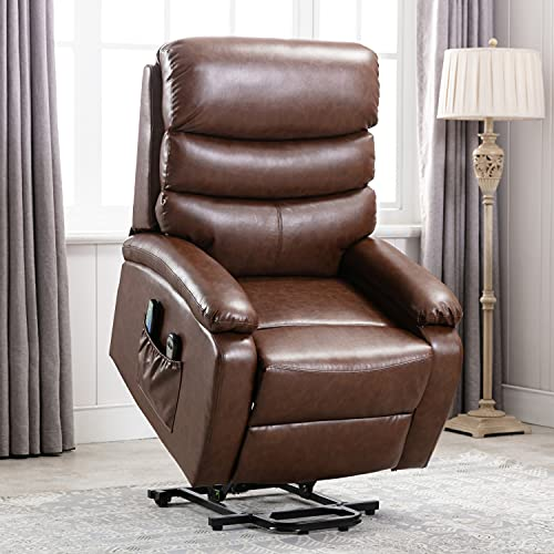 EDWELL Power Lift Recliner Chair Single Living Room Sofa with Massage for Elderly,Home Theater Seating with Heat and Vibration Sofa Back and Detachable Armrest,PU,Brown