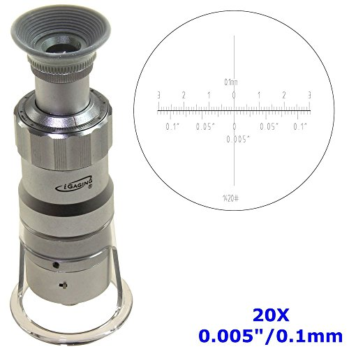 iGaging Measuring Microscope 20X - 0.005'/0.1mm Magnifier Loupe w/Scale Reticle LED Lighted Illuminated