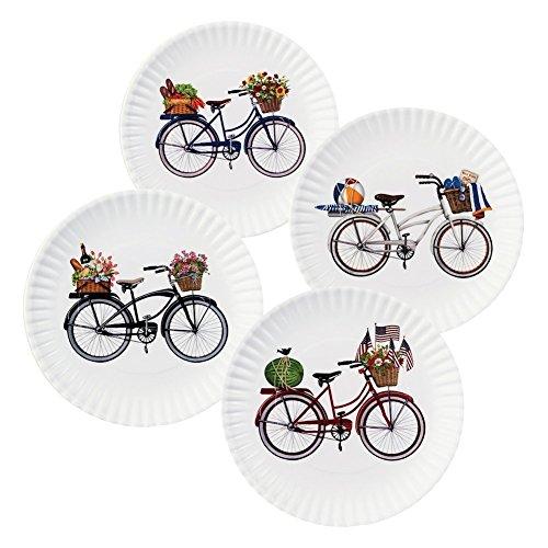 Summer Bikes 9' Melamine Plates, Set of 4