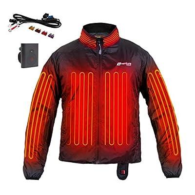 Venture Heat 12V Motorcycle Heated Jacket Liner with Wireless Remote, 7 Heating Zones - 75 Watt, Deluxe Protective Gear (L) Black