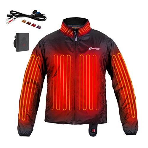 Venture Heat 12V Motorcycle Heated Jacket Liner with Wireless Remote, 7 Heating Zones - 75 Watt, Deluxe Protective Gear (M) Black