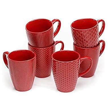 Member's Mark Ceramic Textured Stoneware Mugs, Set of 6 (Red)