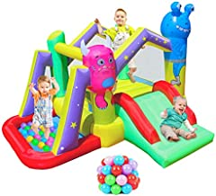 RETRO JUMP Monster Inflatable Bounce House for Brave Kids Alien Indoor Bouncer with Blower Jump and Slide Bouncy Castle with Ball Pit for Party