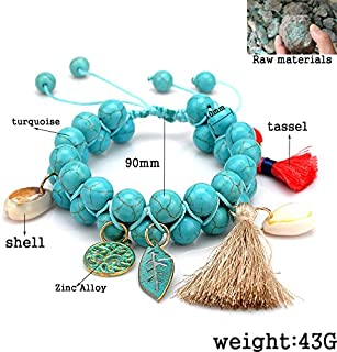 CTRCHUJIAN Women Fashion Bohemian Colorful Natural Stone Beads Weaving Bracelets Tassel Pendant Shell Jewelry Strand Bracelet For Girl