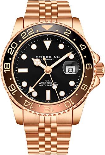 Stuhrling Original Herren Edelstahl Jubiläumsarmband GMT Uhr - Schweizer Quarz, Dual Time, Quickset Datum mit verschraubter Krone, wasserdicht bis 10 ATM (Rose Gold)