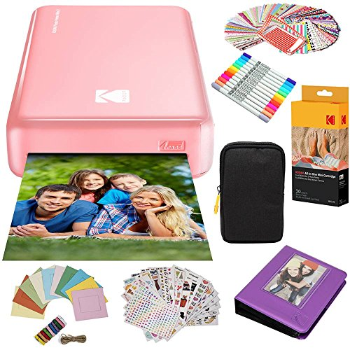 Kodak Mini2 Instant Photo Printer (Pink) Gift Bundle + Paper (20 Sheets) + Deluxe Case + 7 Fun Sticker Sets + Twin Tip Markers + Photo Album + Hanging Frames