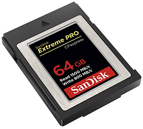 SanDisk 64GB Extreme PRO CFexpress Card Type B - SDCFE-064G-GN4NN 2 Read speeds of up to 1700MB/s and 1400MB/s write speeds** offer low latency during high-speed recording and enhance workflow efficiency far beyond existing SanDisk cards | **Up to 1700MB/s read speed; up to 1400MB/s write speed. Based on internal testing; performance may be lower depending upon host device, usage conditions, and other factors. 1MB=1, 000, 000 bytes. Enables smooth, RAW 4K video(1) | (1)4K video (4069x2160p) support may vary based on host device, file attributes, usage conditions and other factors. The Cfexpress CardType B is backwards-compatible with select XQD cameras that adopt firmware enabling Cfexpress(2) | (2)Backwards compatibility with select XQD cameras subject to the availability and installation of a camera firmware update provided by the camera manufacturer enabling CFexpress compatibility.