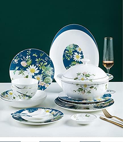 ASYCAN Servicio de vajilla de Lujo de 56 Piezas para 10 Set de Hueso de cerámica China vajilla Conjunto de Tazas y Placa Tazas Cuchara Regalo del hogar