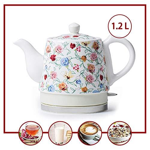 Hervidor de Agua Eléctrico Ceramica 1.2L,1350 W,Estilo chino en porcelana blanca vintage,Apagado...
