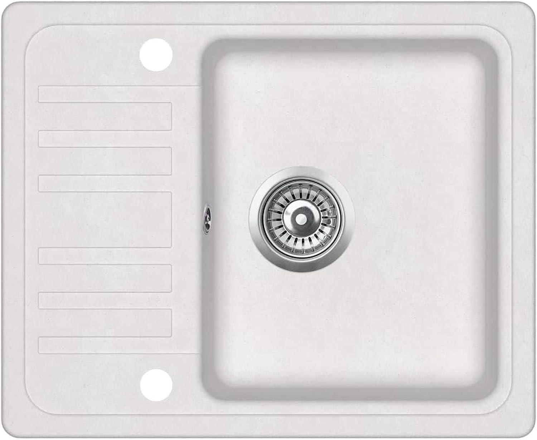 VidaXL Granitspüle Einzelbecken Küchenspüle Einbauspüle Spüle Spülbecken Küche Waschbecken Küchenbecken Auflagespüle Wei Granit 575x460x280mm
