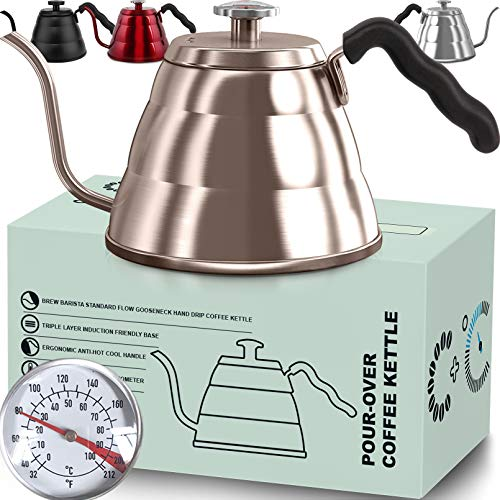 Pour Over Coffee Kettle with Thermometer-Flow Gooseneck Tea Kettles-Brew Barista-Standard Hand Drip Coffee Suitable all Stovetops and Induction, BPA Free,Father's Day Gift (Gold 1 L)