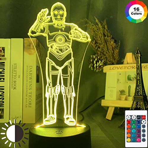 Cool Gold Robot CP3 Kid Star Sci-fi Moive Wars Study Night Light 3D LED Table Lamp Kids Birthday Gift Bedside Room Decoration
