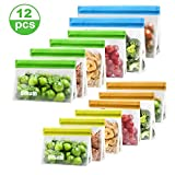 Reusable Food Storage Bags, 12 Pack BPA FREE Reusable Freezer Bags(2 Reusable Gallon Bags + 4 Reusable Lunch Bags + 3 Reusable Sandwich Bags + 3 Reusable Snack Bags)Thick Leakproof Bags