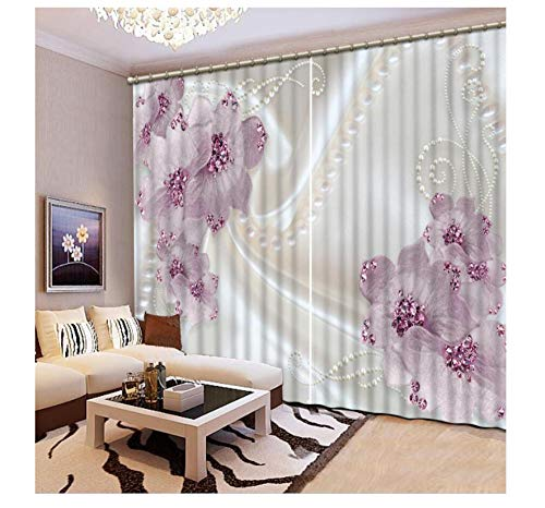 XIMDLS 3D Curtain Silk Background Purple Flowers Living Room 3D Curtains for The Bedroom Kitchen Modern Window Customized