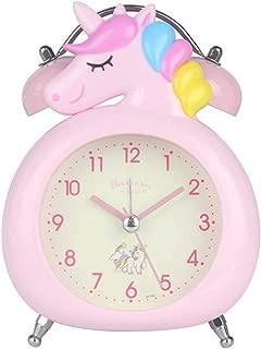 JINSERTA Unicorns Clock Silent with Night Light Double Bell Alarm Clock Cartoon Children's Alarm Clock (Pink)