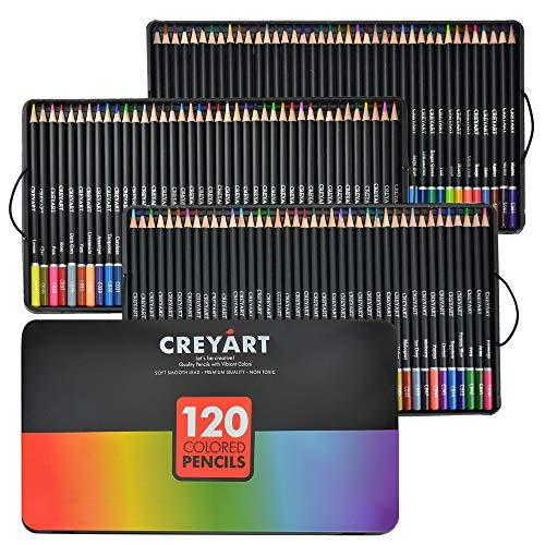 Buntstifte Set von 120 - Vorgespitzte ungiftige Kunst Supplies für Kinder und Erwachsene - Weiche und dicke Öl-basierte Minen - 120 Farben in Blechbox - von Creyart