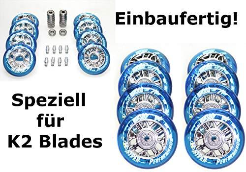 Hyper 4/8er NX360 Rolle 84mm Blue f. K2 Skates Inliner Op. montiert ABEC 9+Spacer 6mm (4er Set Rolle 84mm)